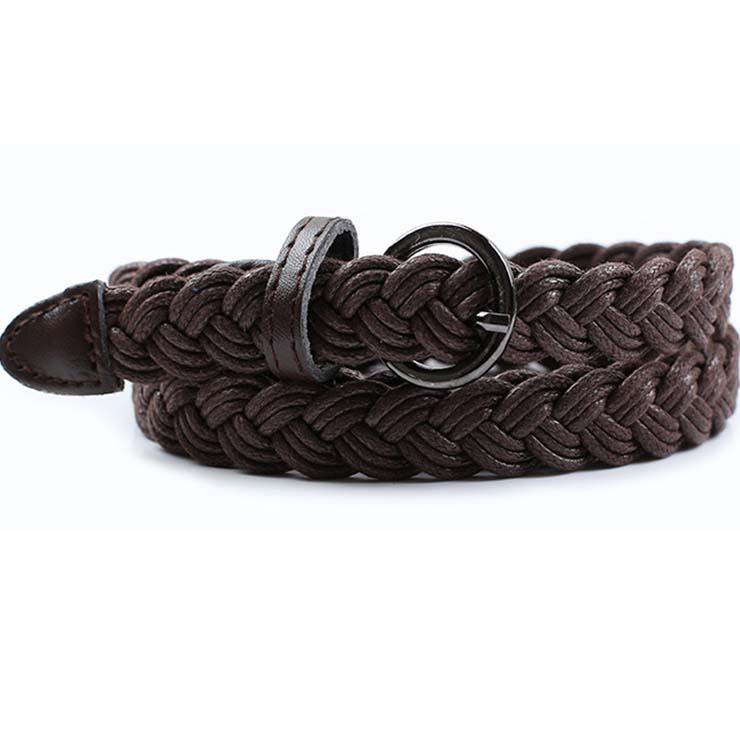 Women's Fashion Coffee Braided Single Prong Buckle Thin Waist Belt N16058