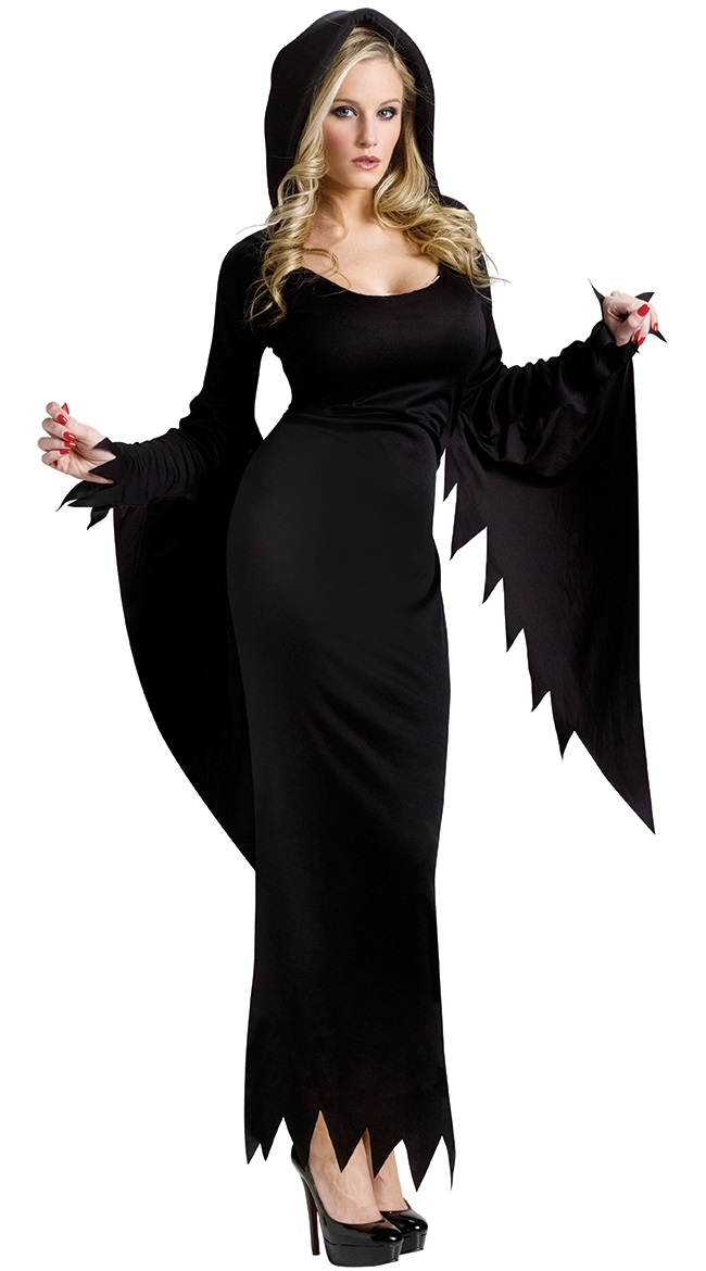 Dark Night Witch Costume N10689  sc 1 st  MallTop1.com & Womenu0027s Adult Black Witch Halloween Costume N14622