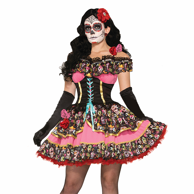 Sexy Women's Day of Death Skull Print Dress Adult Halloween Costume N11694