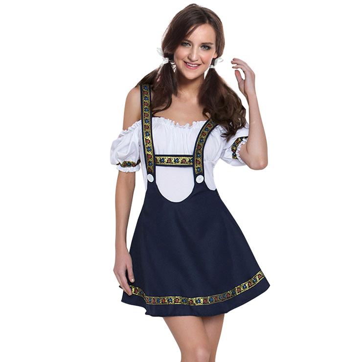 Deep Blue Women's Off Shoulder A-dress Cross Straps Oktoberfest Costume N18246