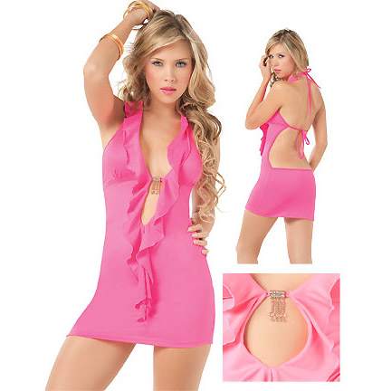 Deep Plunge Club Dress With Ruffles C3107