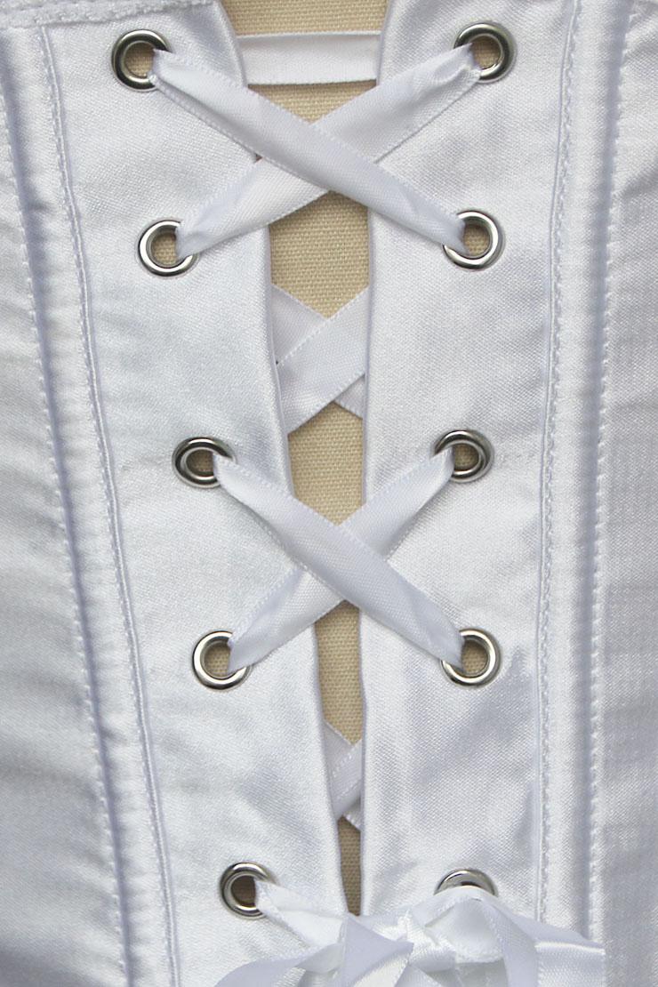 Deep-V Front Brocade Corset White, Deep-V Front Corset, White Deep-V Front Corset, #N5510