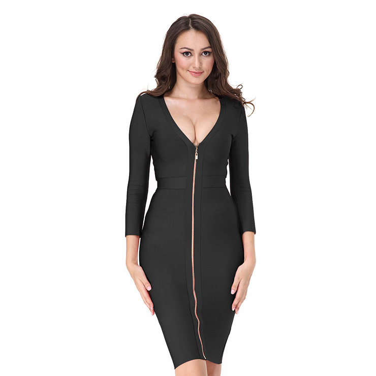 Women's Sexy Deep V Front Long Sleeve Bodycon Bandage Party Dress N15132