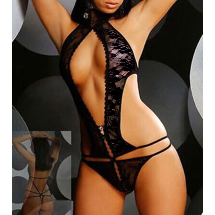 Sexy Black Deep V Halter Lace Bodysuit One-piece Lingerie Set with Patch N17058