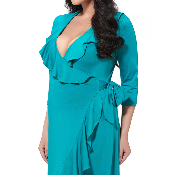 Evening Party Dress, Fishtail Maxi Dress, Fashion Green Dress, Hot Sale Long Sleeve Dress, Plus Size Party Dress, #N14547