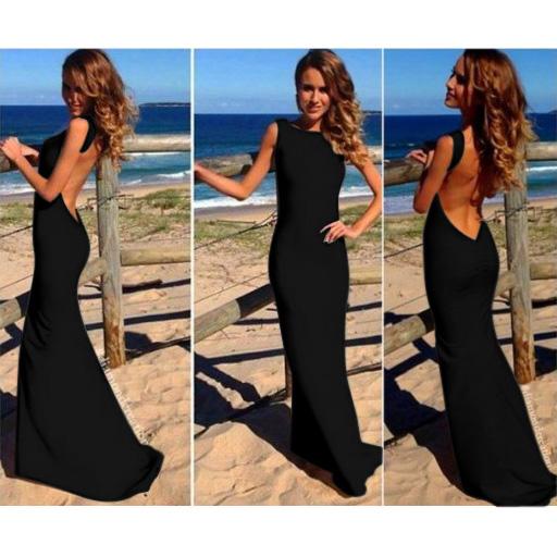 Deep V Back Bodycon Elegant Gown N9026
