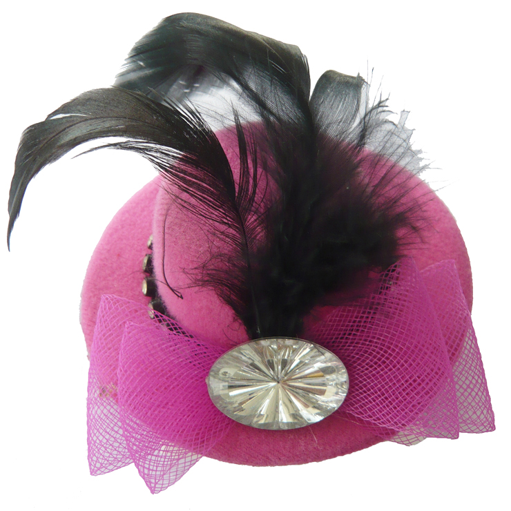 Deep pink Feather Hair Clip Mini Top Hat J7042