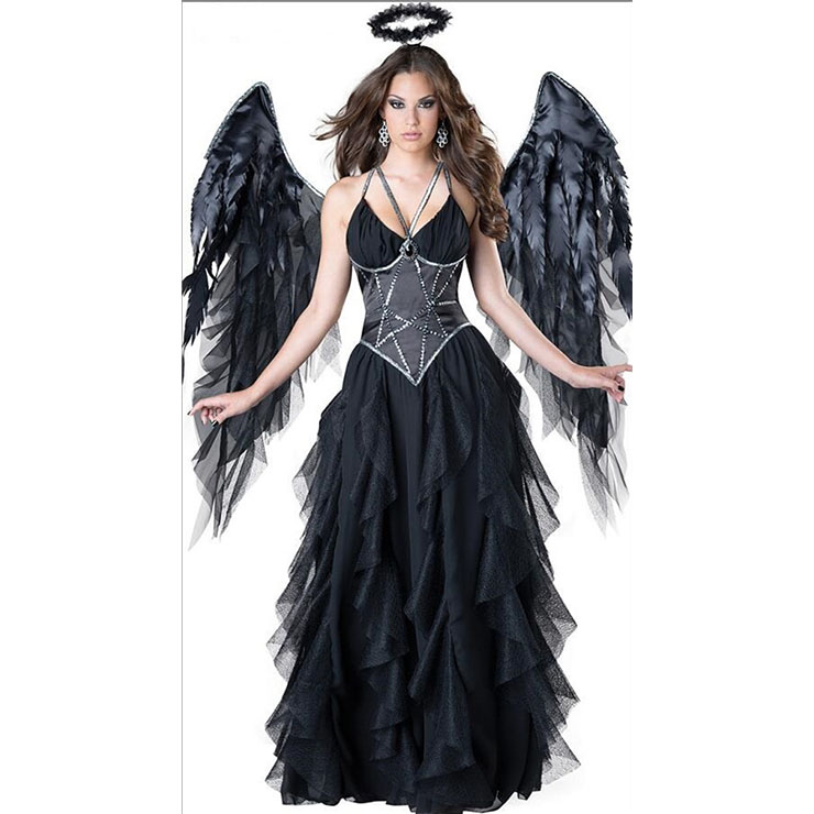 Deluxe Adult Noble Elegant Fallen Angel Halloween Fancy Ball Cosplay Costume with Wing N18247