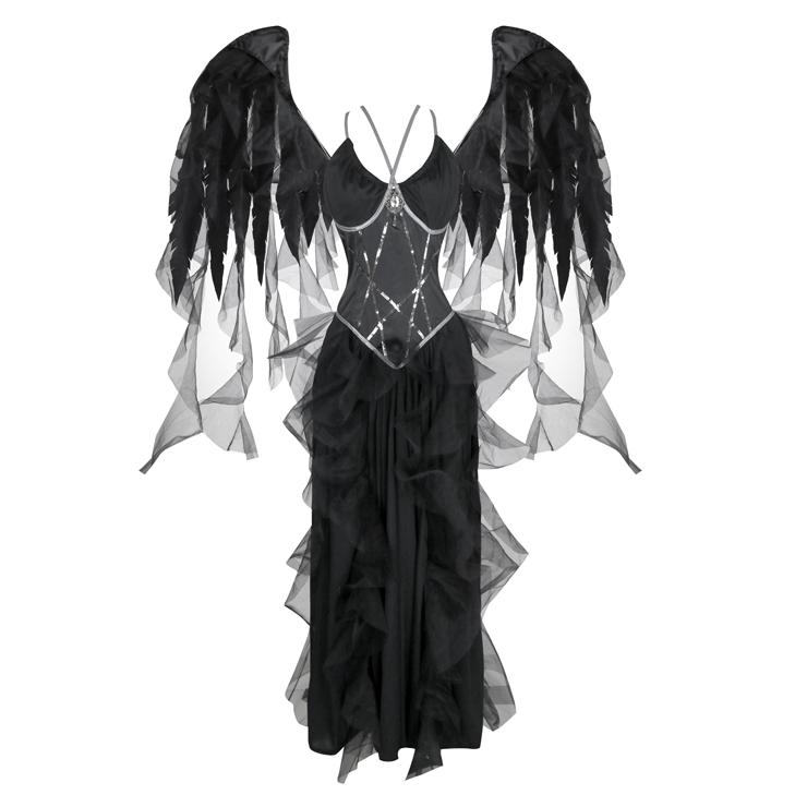 Fallen Angel Halloween Costume,Black Angel Costue,Deluxe Angel Costume, Halloween Costume, Fancy Ball Costume, Angel Catume, Adult Halloween Angel Costume,#N18247