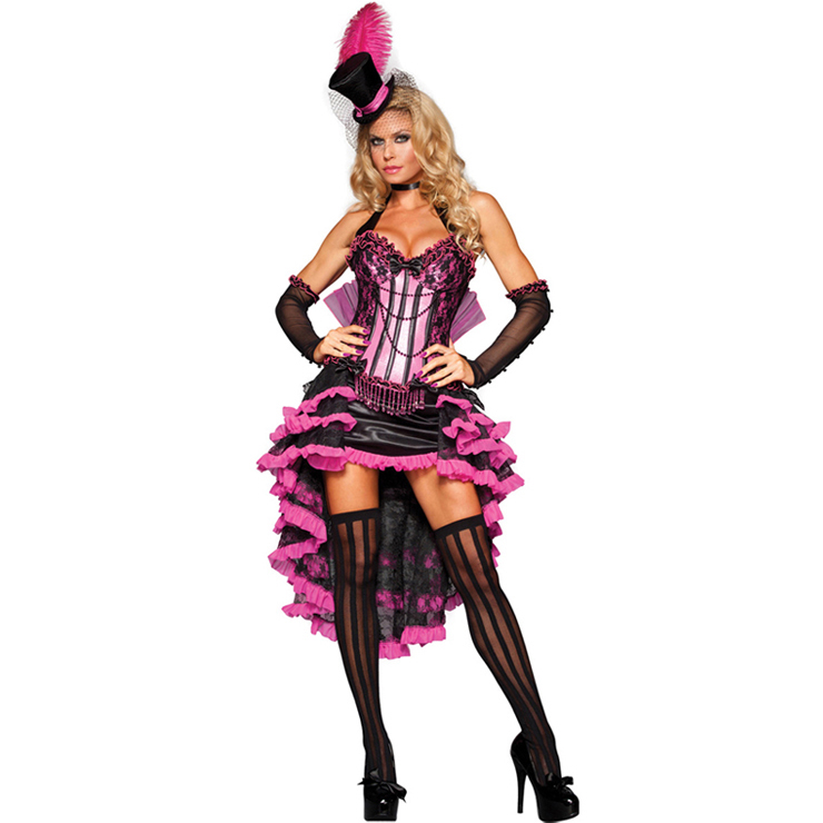 Deluxe Burlesque Beauty Pink Halter Hi-Lo Backless Adult Costume with Gloves and Hat N6599