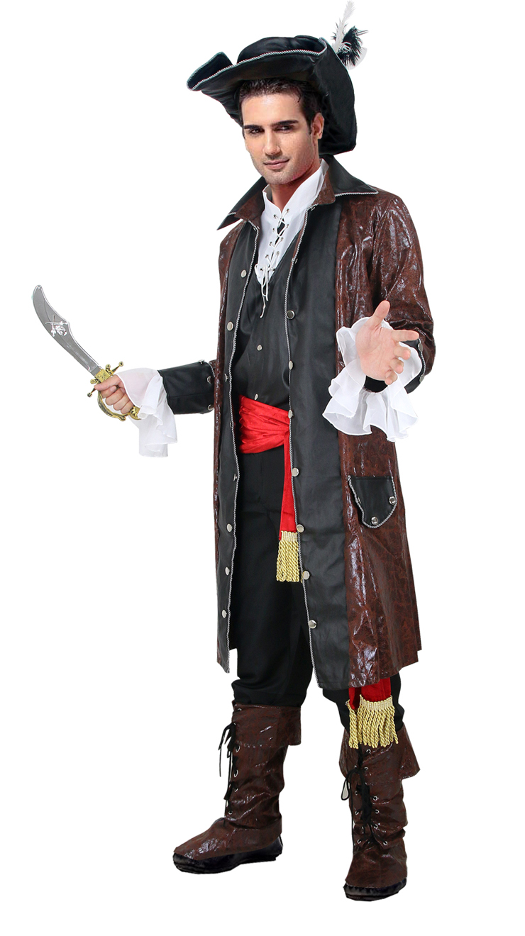 Pirate Captain Adult Costume, Captain Darkheart Costume, Caribbean Pirate Costume, #P7694