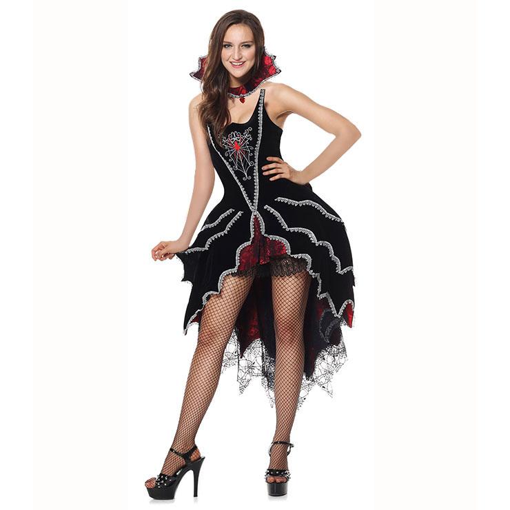 Deluxe Dark Webbed Mistress Costume, Deluxe Vampire Costume, Sexy Dark Vampire Costume, Gothic Red-Black Webbed Vampire Costum, Black Lace Webbed Gothic Costum, Dark Vampire Queen Holloween Costume#N6311