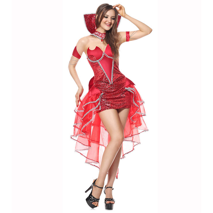 Deluxe Delightfully Devilicious Costume, Deluxe Devilicous Costume, Deluxe Devil Costume, Red Devil Costume, Red Devil Queen Halloween Costume, Fancy Devil Shiny Costume#N6215