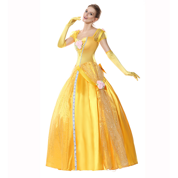Princess Belle Costume Woman, Adult Belle Costume, Deluxe Disney Belle Costume, #N5943