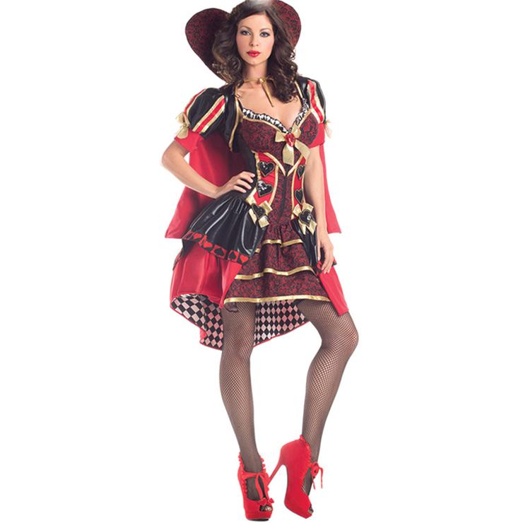 Deluxe V-neck Heart Stand Collar Alice in Wonderland Queen of Heart Costume N5975
