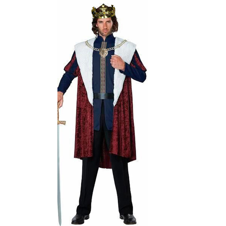 Men's Deluxe Medieval King Cosplay Halloween Adult Costume N18179