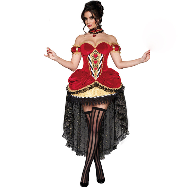Women's Sexy Fairy Tale Deluxe Queen Of Hearts Overbust Hi-Lo Adult Role Play Costume N6200