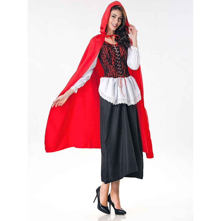 Halloween Costume 398.Deluxe Fairytale Red Riding Hood Adult Cosplay Halloween Costume N17167
