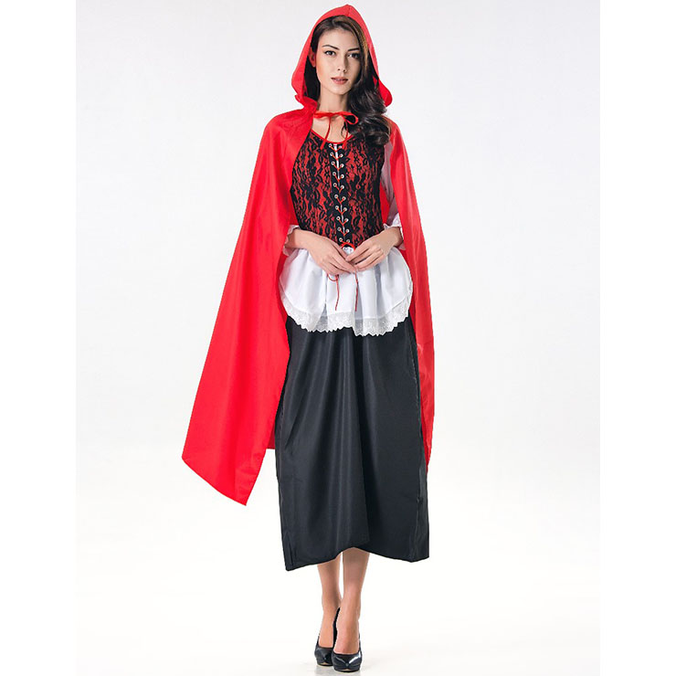 8350f7e2feda4 Deluxe Fairytale Red Riding Hood Adult Cosplay Halloween Costume N17167