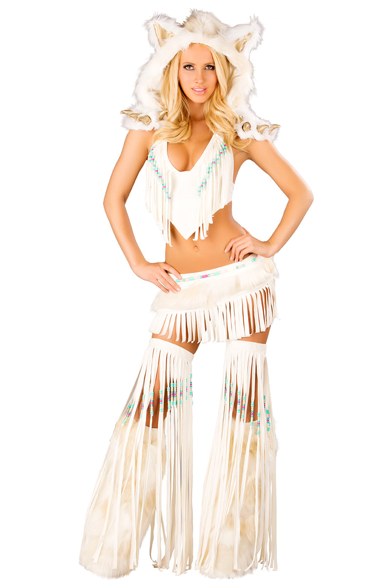 Deluxe Sexy White Indian Costume N6204-2362