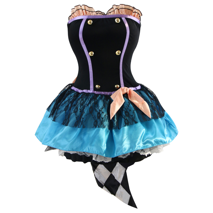 Women's Tea Time Mad Hatter Overbust Mini Dress Role Play Circus Costume N4419