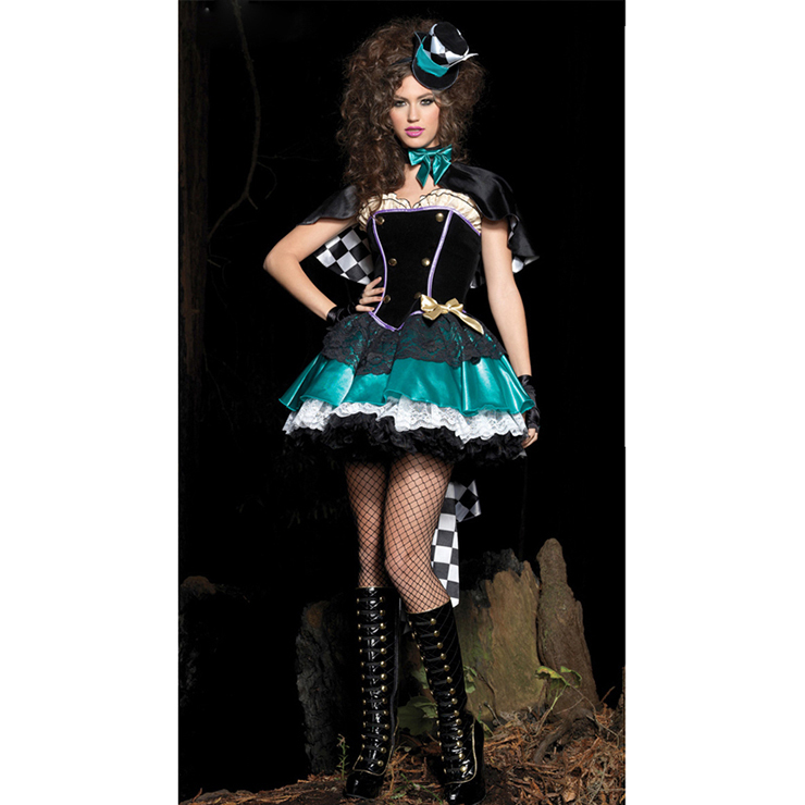 Women's Tea Time Lake Blue Hatter Overbust Mini Dress Role Play Circus Costume with Cape Hat N4419