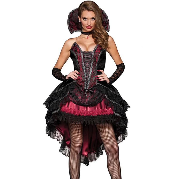 Deluxe Black-red Lace Vampire Vixen Queen Hi-Lo Stand Collar Halloween Costume N6533