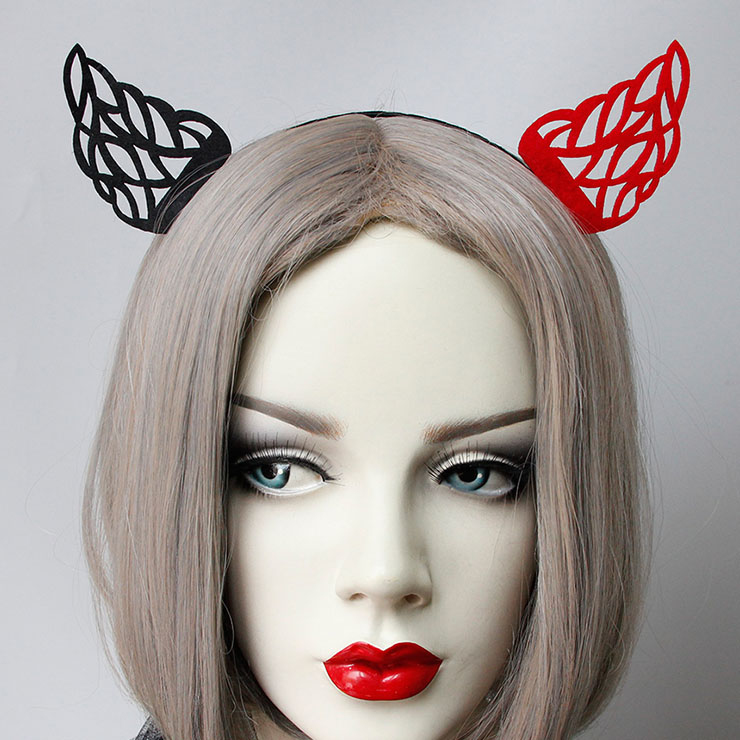Sexy Black and Red Demon's Horns Monster Halloween Party Nightclub Decorations Headband J21527