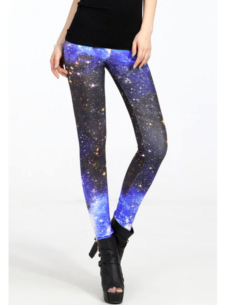 Dark Black & Blue Galaxy Print Leggings L7860
