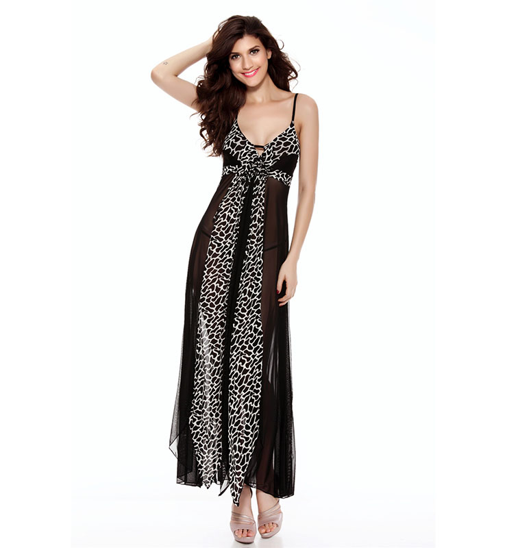Elegant Black and White Leopard Long Night Gown N11227
