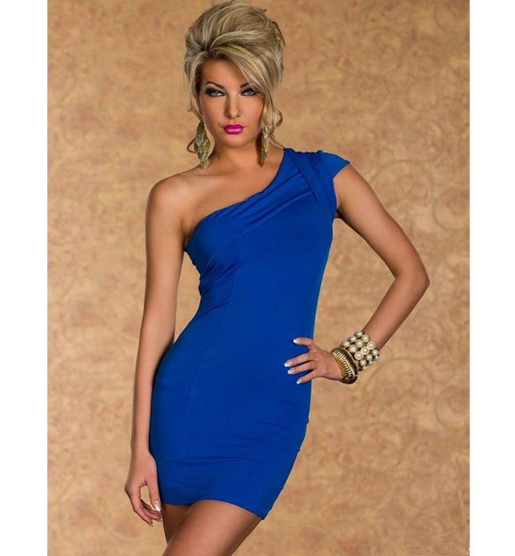 Elegant Blue One-Shoulder Dress N7840