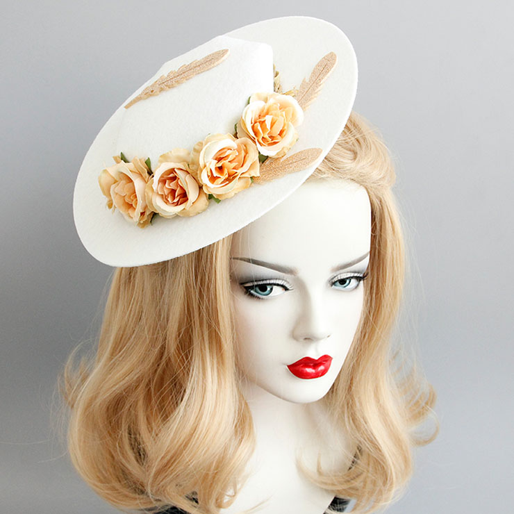 Elegant Charming Beige Flower and Feather Net Hair Clip Hat J17270