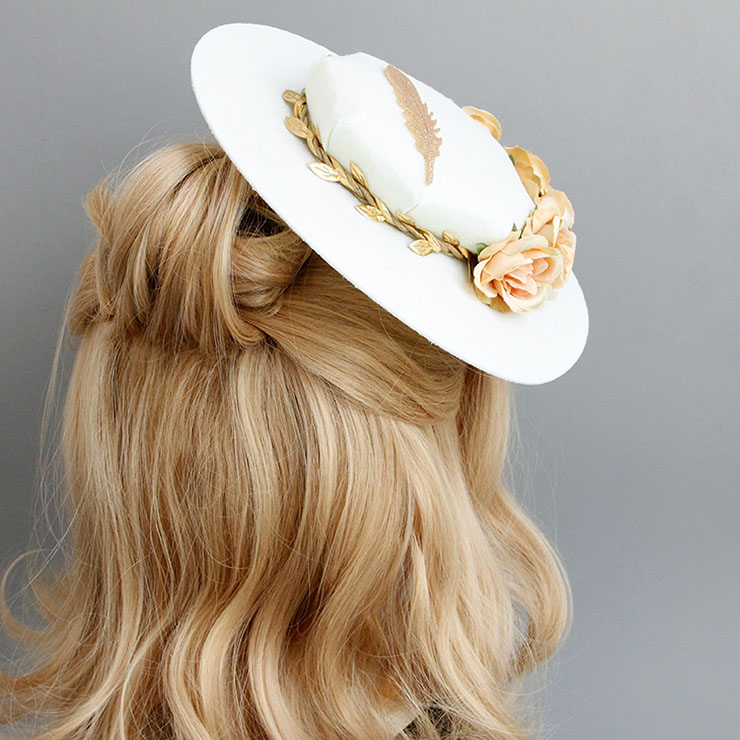 Charming Beige Flower Hair Clip, Flower Net Hair Clip Hat, Fashion Beach Hat for Women, Elegant Flower and Feather Hair Clip, Casual Beige Flower Hair Accessory, #J17270
