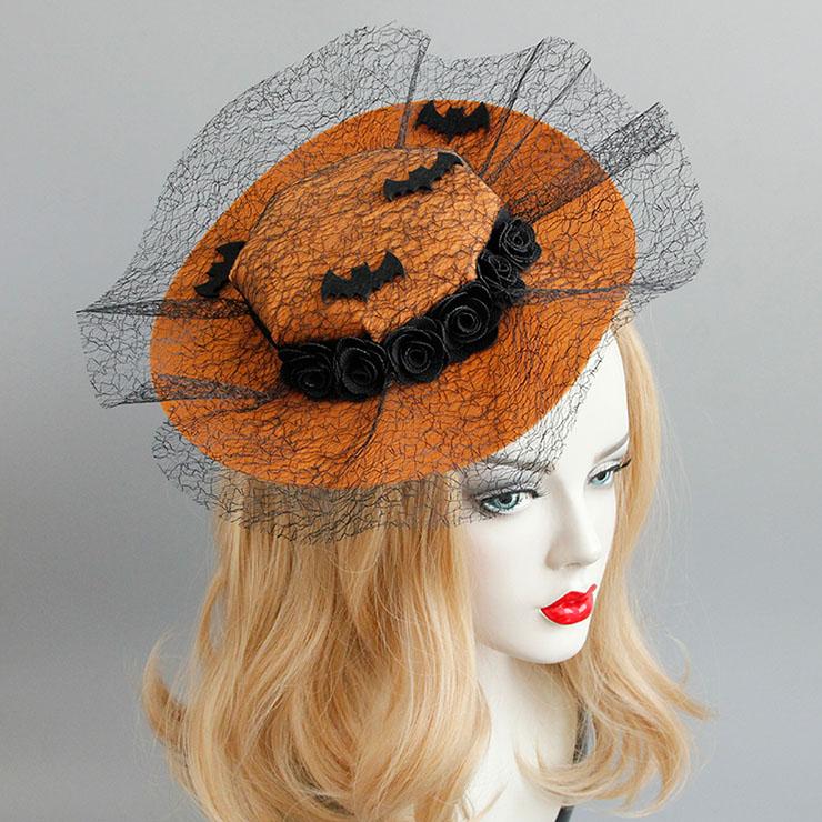 Elegant Charming Brown Flower and Bat Net Hair Clip Hat J17322
