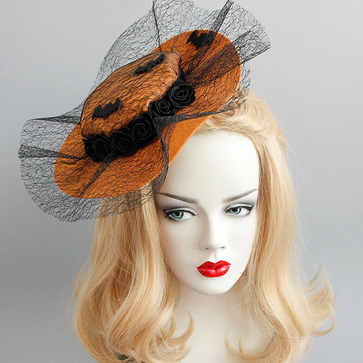 Charming Brown Flower Hair Clip, Flower Net Hair Clip Hat, Fashion Beach Hat for Women, Elegant Flower and Bat Hair Clip, Casual Brown Flower Hair Accessory, #J17322
