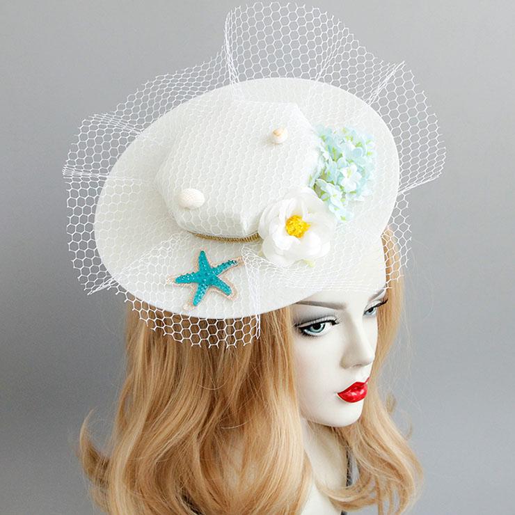 Elegant Charming White Flower Net Hair Clip Hat J17269
