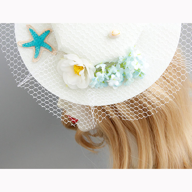 Charming White Flower Hair Clip, Flower Net Hair Clip Hat, Fashion Beach Hat for Women, Elegant Starfish Flower Hair Clip, Casual White Flower Hair Accessory, #J17269