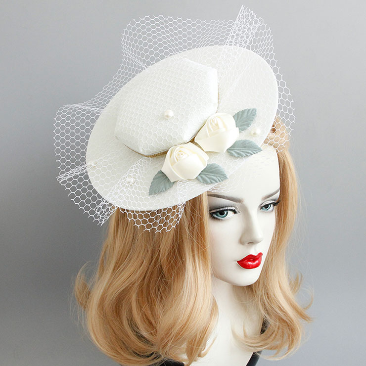 Elegant Charming White Flower and Bead Net Hair Clip Hat J17271