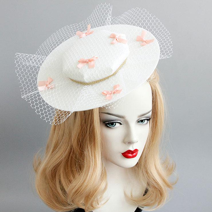 Elegant Charming White Little Bowknot Net Hair Clip Hat J17321