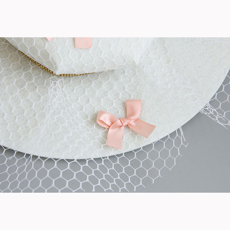 Charming White Bowknot Hair Clip, Bowknot Net Hair Clip Hat, Fashion Beach Hat for Women, Elegant Little Bowknot Hair Clip, Casual White Bowknot Hair Accessory, #J17321