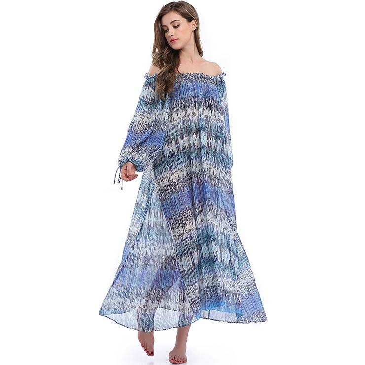 Vintage Chiffon Long Dress, Women