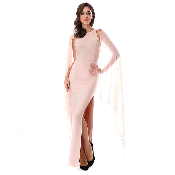 Womens Elegant Chiffon Round Collar High Slit Maxi Bodycon Dress N15255