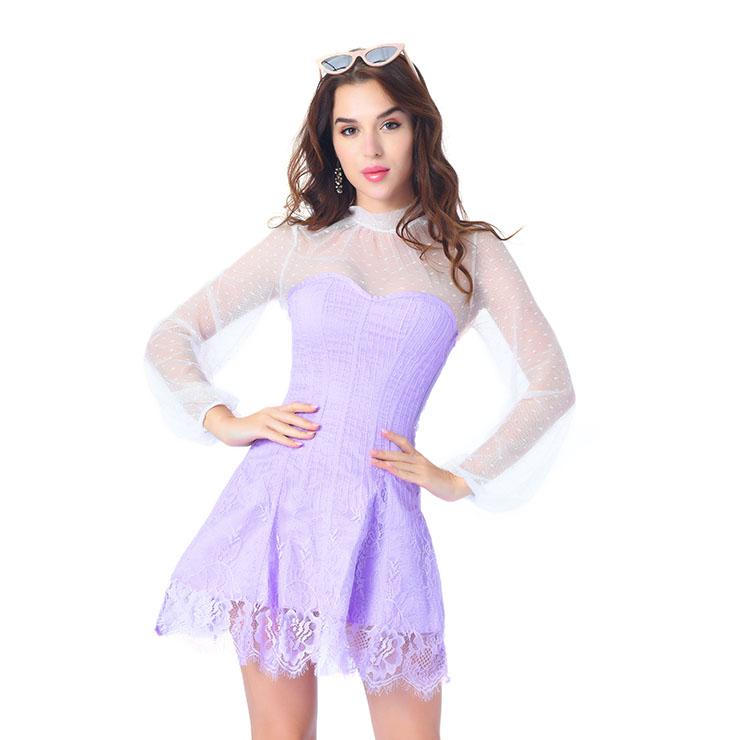 Elegant Light-purple Strapless Stripe Lace Corset Dress With Polka Dots Blouse Set N20263