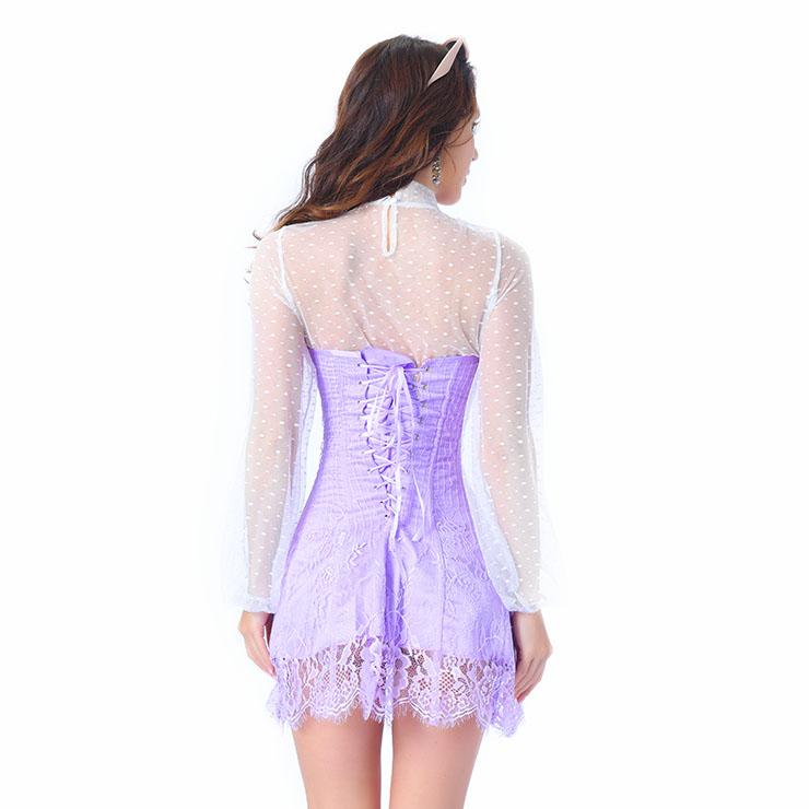 Stripe Corset Dress Set,Lace Corset Dress Sets, Sexy Short Lace Corset Dress Sets, Polka Dots Blouse Dress Sets, Elegant Lace Stripe Corset Dress for Women Sets,Sexy Mini Dress Sets, #N20263