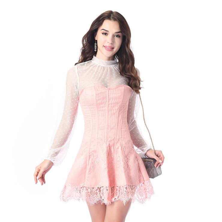 Elegant Flesh-pink Strapless Stripe Lace Corset Dress With Polka Dots Blouse Set N20264
