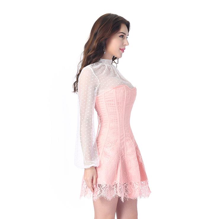 Stripe Corset Dress Set,Lace Corset Dress Sets, Sexy Short Lace Corset Dress Sets, Polka Dots Blouse Dress Sets, Elegant Lace Stripe Corset Dress for Women Sets,Sexy Mini Dress Sets, #N20264