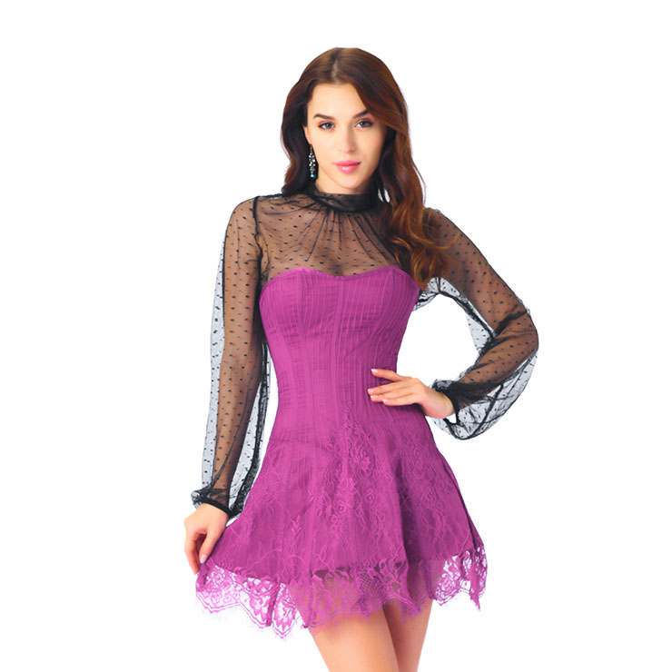 Elegant Rose-red Strapless Stripe Lace Corset Dress With Polka Dots Blouse Set N20265