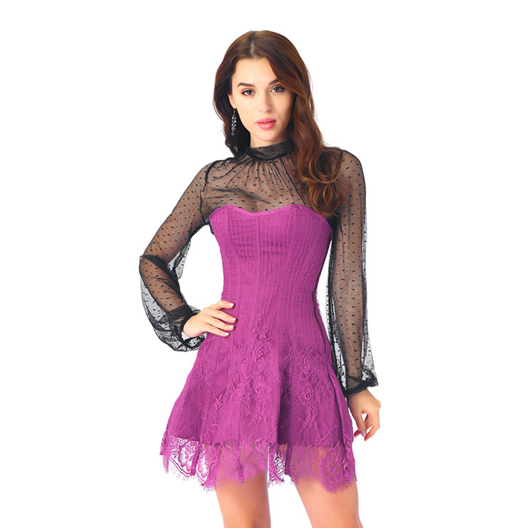 Stripe Corset Dress Set,Lace Corset Dress Sets, Sexy Short Lace Corset Dress Sets, Polka Dots Blouse Dress Sets, Elegant Lace Stripe Corset Dress for Women Sets,Sexy Mini Dress Sets, #N20265