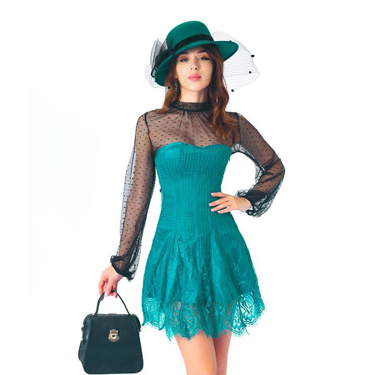 Elegant Dark-green Strapless Stripe Lace Corset Dress With Polka Dots Blouse Set N20266