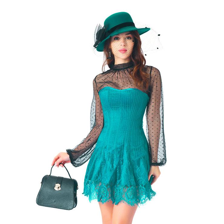 Stripe Corset Dress Set,Lace Corset Dress Sets, Sexy Short Lace Corset Dress Sets, Polka Dots Blouse Dress Sets, Elegant Lace Stripe Corset Dress for Women Sets,Sexy Mini Dress Sets, #N20266